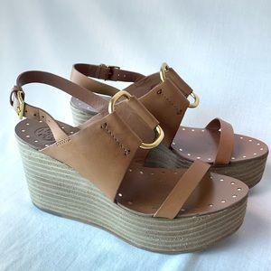 Tory Burch Leather platform wedge sandals